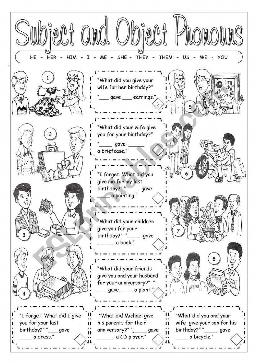 Subject And Object Pronouns Worksheet Formationanglais