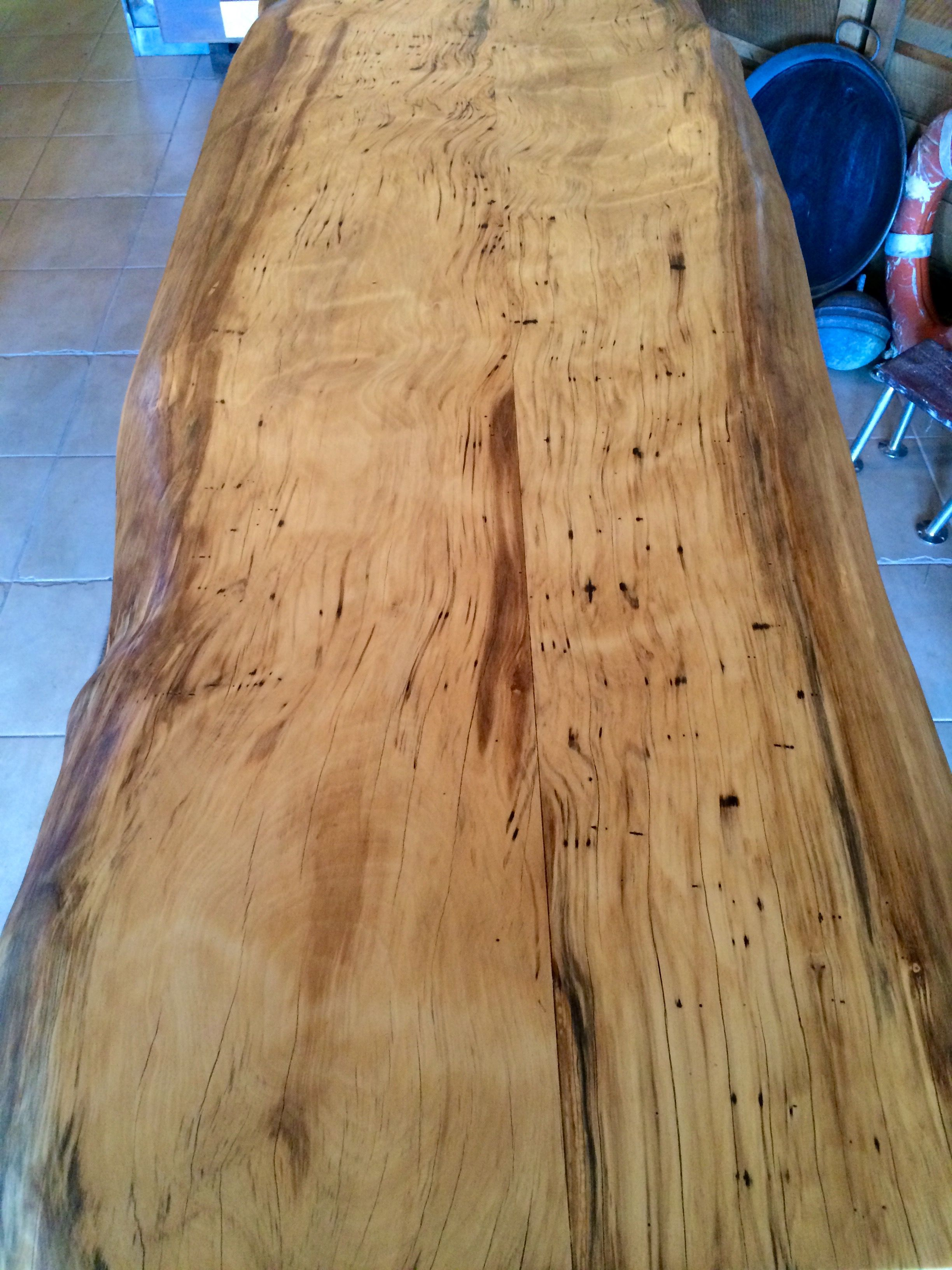 Natural edge dining table w steel hairpin legs from impact imports of - Black Gum Table Top