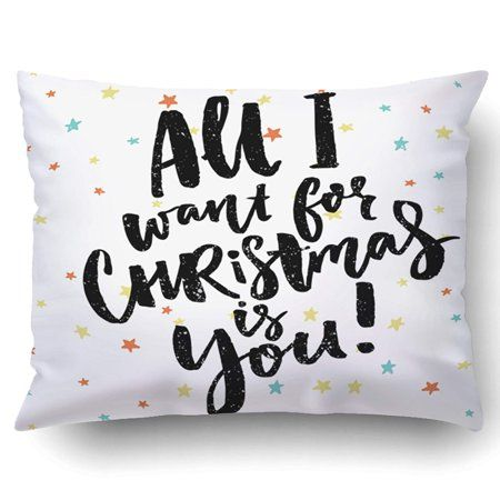 BPBOP Xmas All I Wand For Christmas Is You Funny Saying Christmas Greeting Black Brush Calligraphy On Stars Pillow Case Cushion Cover Case Throw Pillow Case 20x30 inches