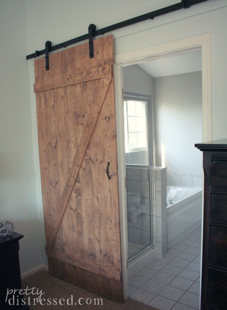 diy distressed sliding barn door have a small entry to bathroom this is a great solution - Barn Door For Bathroom