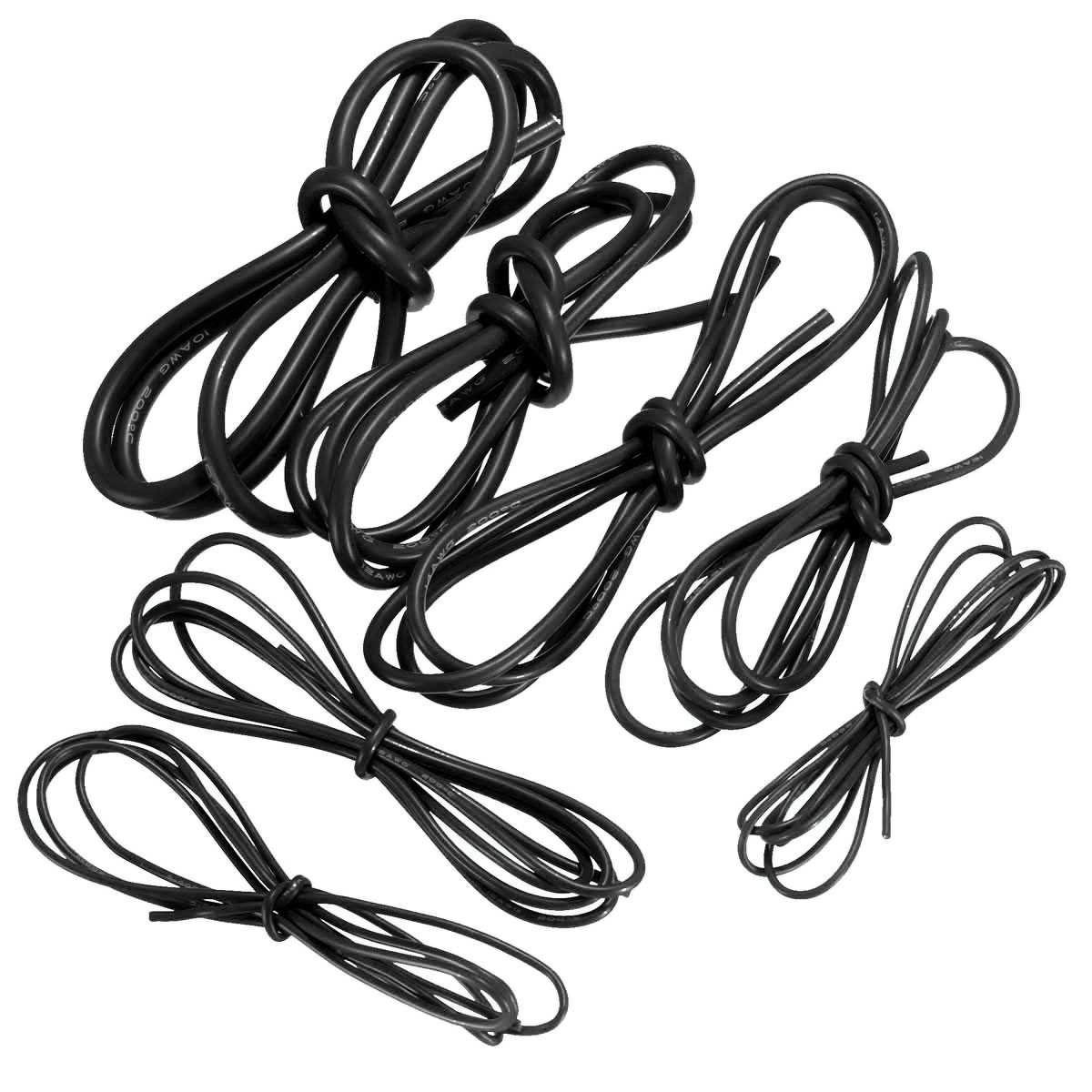 Description : 1 Meter Black Silicone Wire Cable 10 / 12 / 14 / 16 ...