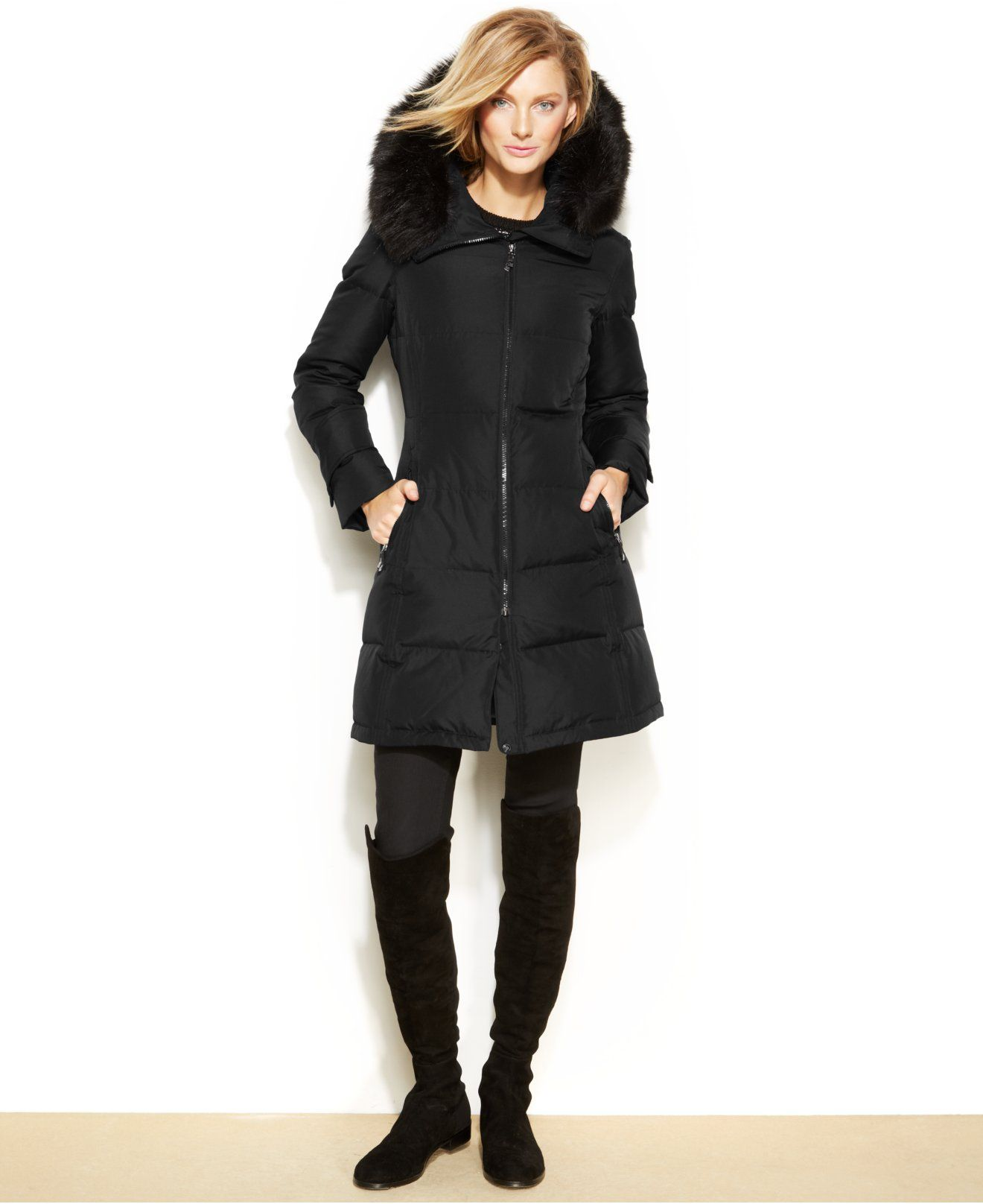 aa20e219d Calvin Klein Hooded Faux-Fur-Trim Quilted Down Puffer Coat - Coats - Women  - Macy's