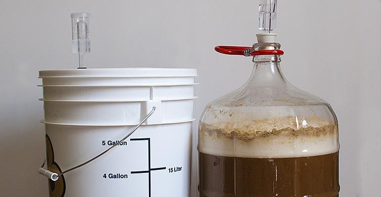 Fermentation glass or plastic craft beer and brewing