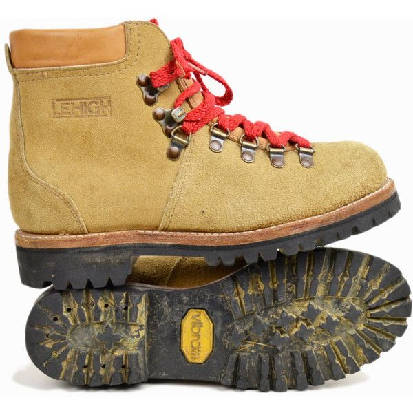 7f08d223df285 Vintage Leather Hiking Boots with Red Lace Waffle Stompers Women's ...