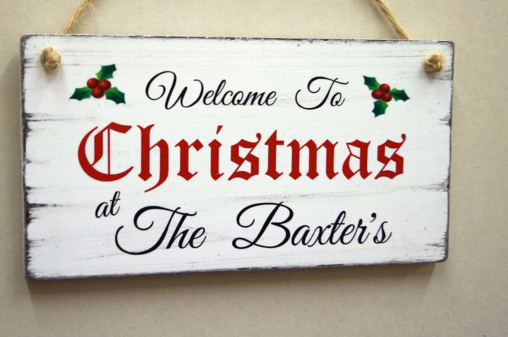 Shabby Christmas Wooden Welcome Sign Decoration Personalised Gift ...