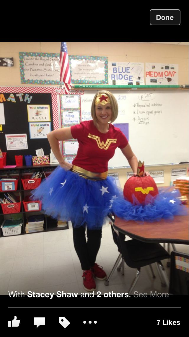 Wonder woman costume for schoolalong with matching pumpkin - school halloween costume ideas