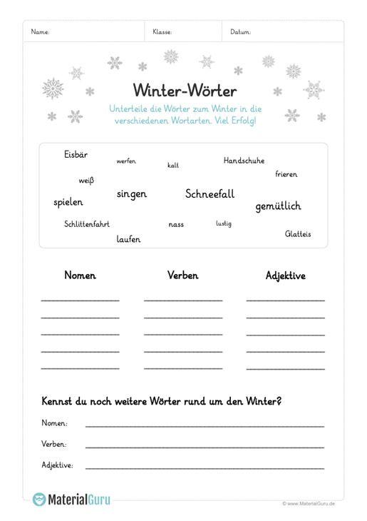 ein kostenloses arbeitsblatt zum thema winter auf dem die sch ler 15 w rter zum winter in die. Black Bedroom Furniture Sets. Home Design Ideas