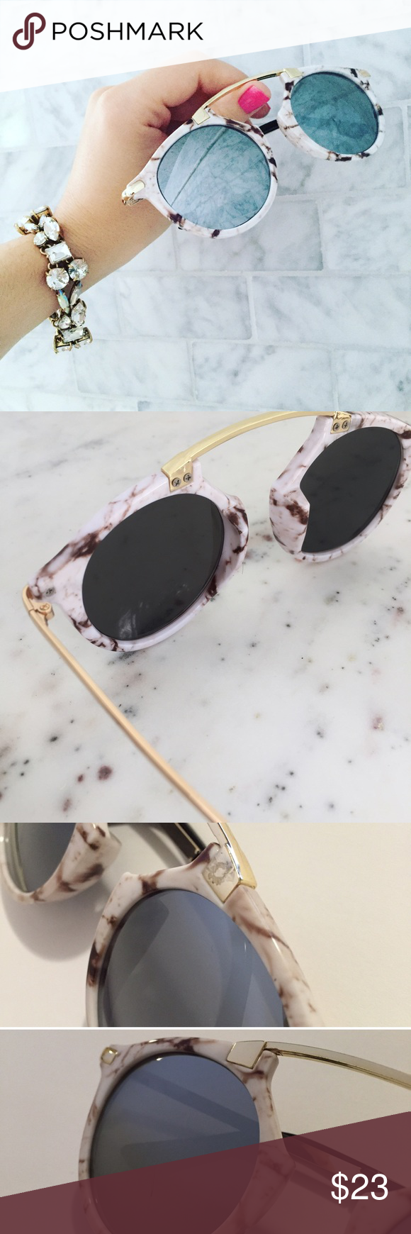 Sienna Sunglasse White Marble Silver Cute Accessories Mirroring And Paraphrasing