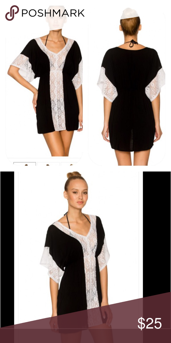 Lavish Black Festival Dress/Cover-Up Feel like you are at a celebration in this beautiful crochet trimmed cover-up. This woven cover-up has a soft crochet trim accenting the v-neckline and the wide sleeves. For easy coverage, the elastic waistline makes this dress a must have item for your closet. 100% Rayon Lavish Swim Coverups