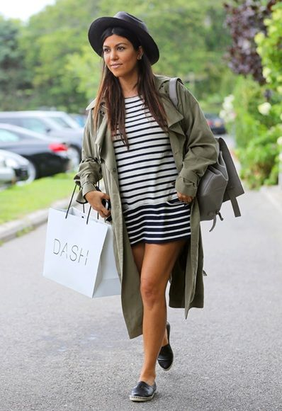 90cfbcc6c845 Kourtney Kardashian pairs her  Chanel espadrilles with an  ASOS trench coat!