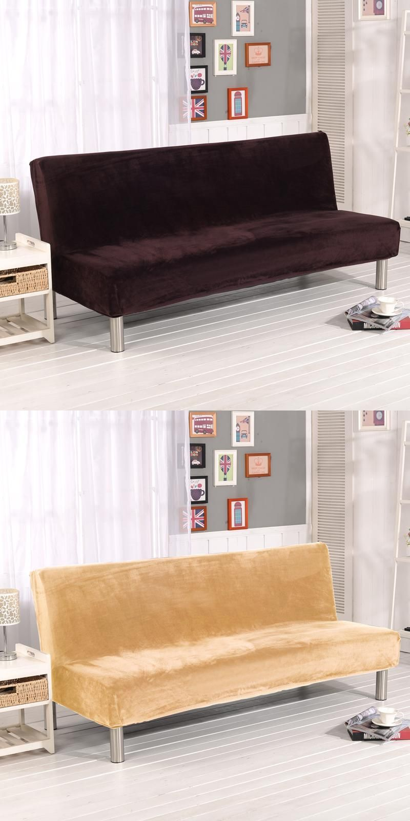 Stretch Sofa Cover Elastic No Handrails Solid Couch Cover Sofa