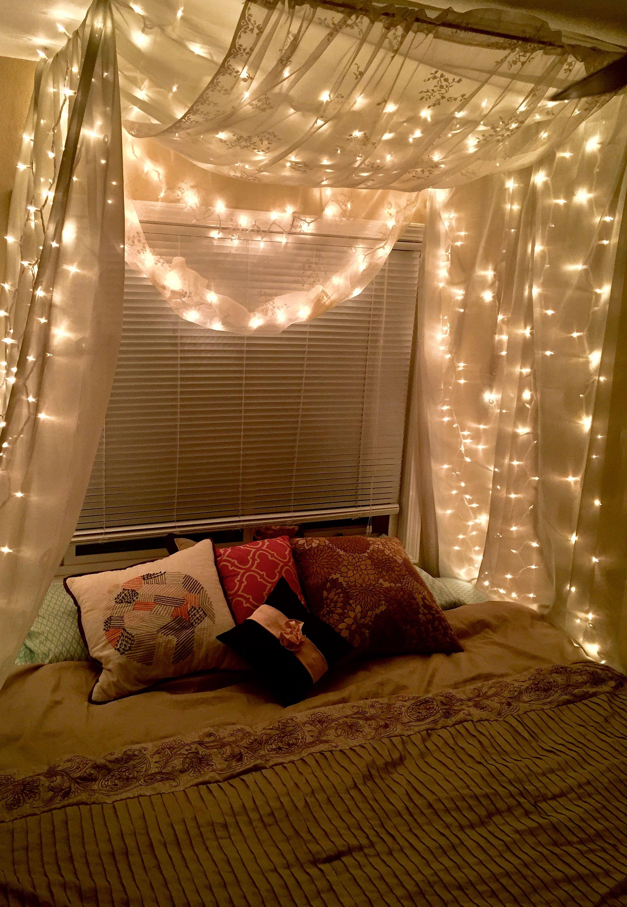 Canopy Bed Bedroom Decor Lights Aesthetic Bedroom Relaxing Bedroom