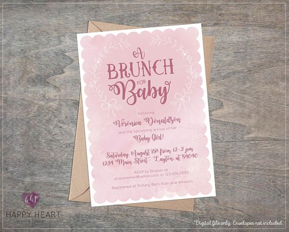 baby brunch pink girl shower sprinkle invitation bow watercolor