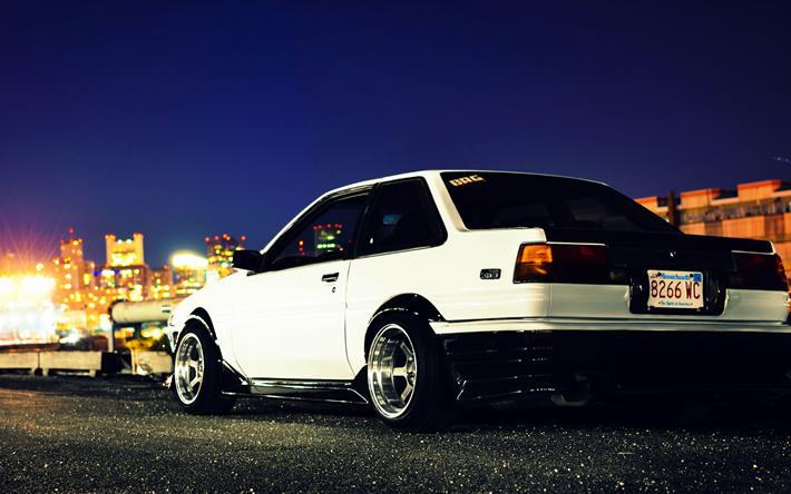 Download Wallpapers 4k Toyota Ae86 Night Tuning Stance Toyota Besthqwallpapers Com Ae86 Toyota Toyota Corolla