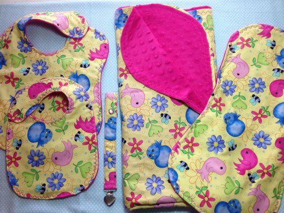 Baby Gift Set  Blanket Burp Cloth Toddler by NannyGoatsKidsPlus