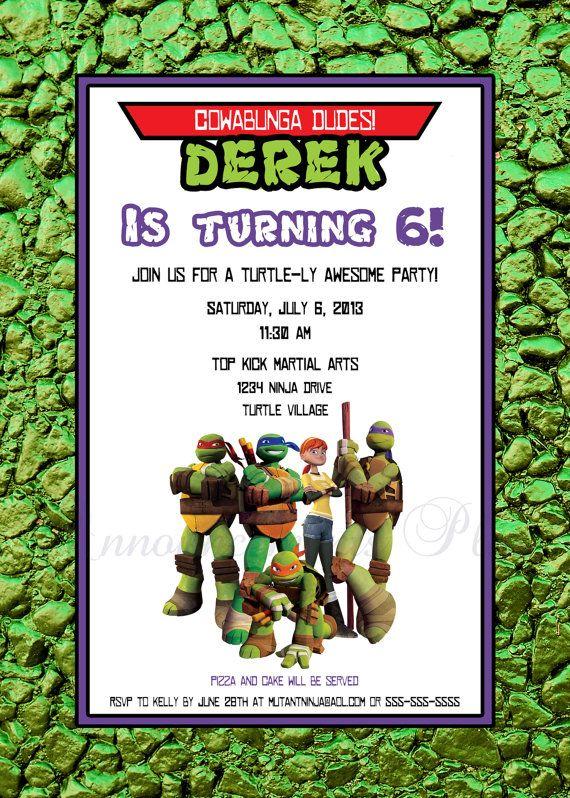5x7 Mutant Ninja Turtle Invitation 5 designs available by