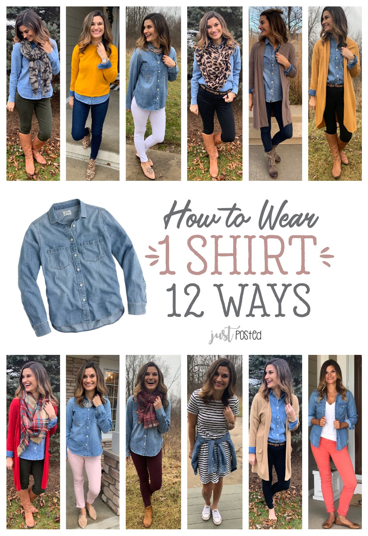 How to wear 1 Chambray shirt 12 different ways! Perfect denim chambray top! #howtowear