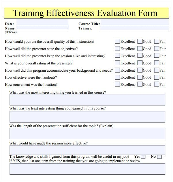 Sample Software Evaluation Sample Training Evaluation Form Example