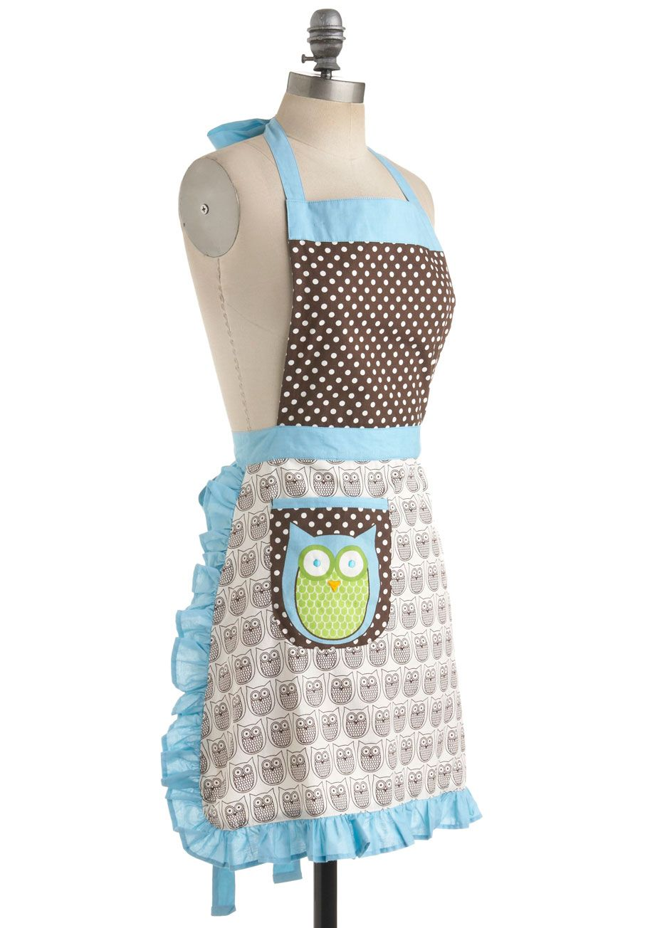 Cooking Owl Day Apron. The menu for tonights dress-up dinner party will be a marathon to prepare, but everything will come out perfectly with the help of these winged cooking whizzes! #multi #modcloth