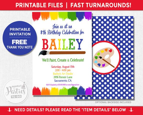 art party invitation art birthday invitation art party