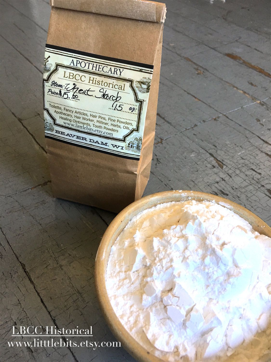 Organic wheat starch for hair powder by lbcc historical beautify