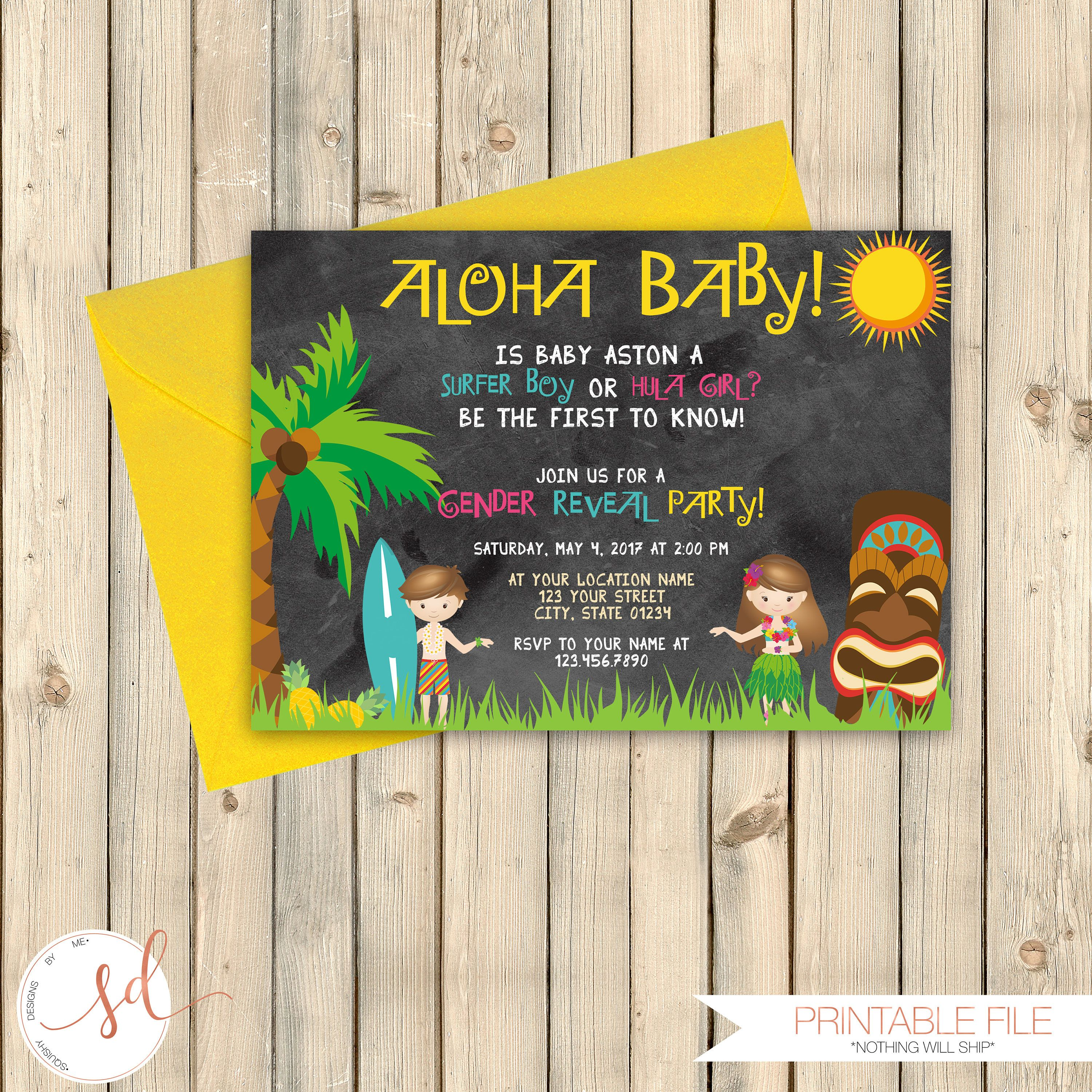 Hawaiian Luau Out Baby Gender Reveal Party Invitation, Pink or Blue ...