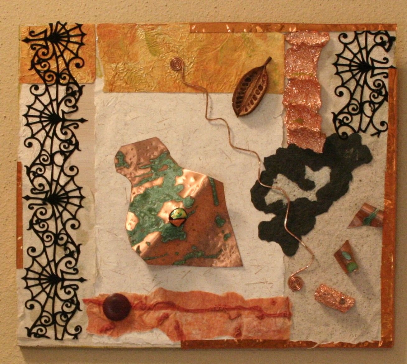 Out of Eden, handmade paper, lace, copper sheet, copper foil, patina & paint.