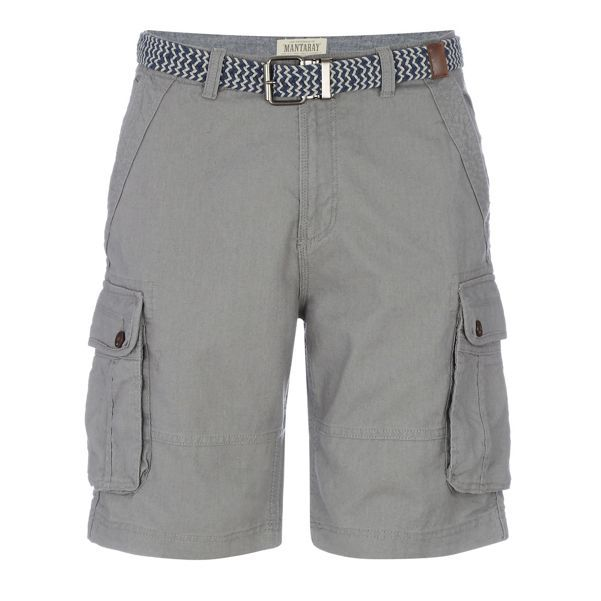 62f2e78e91 Mantaray Grey linen blend regular fit cargo shorts | Debenhams ...