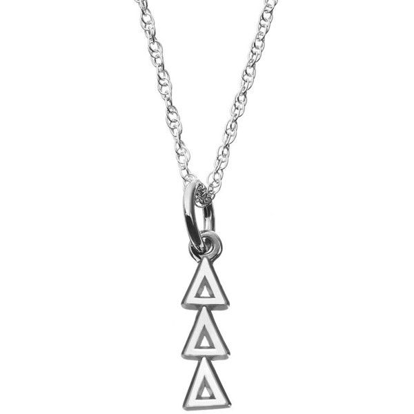LogoArt Sterling Silver Tri Delta Silver Sorority Pendant Necklace... ($60) ❤ liked on Polyvore featuring jewelry, necklaces, grey, silver initial necklace, silver pendant necklace, necklaces & pendants, sterling silver chain necklace and sterling silver pendant