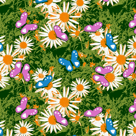 Butterflies Love Wild Daisies fabric