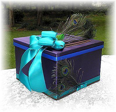 Wedding PEACOCK Feather Gift Card Box Regency Teal Royal Blue