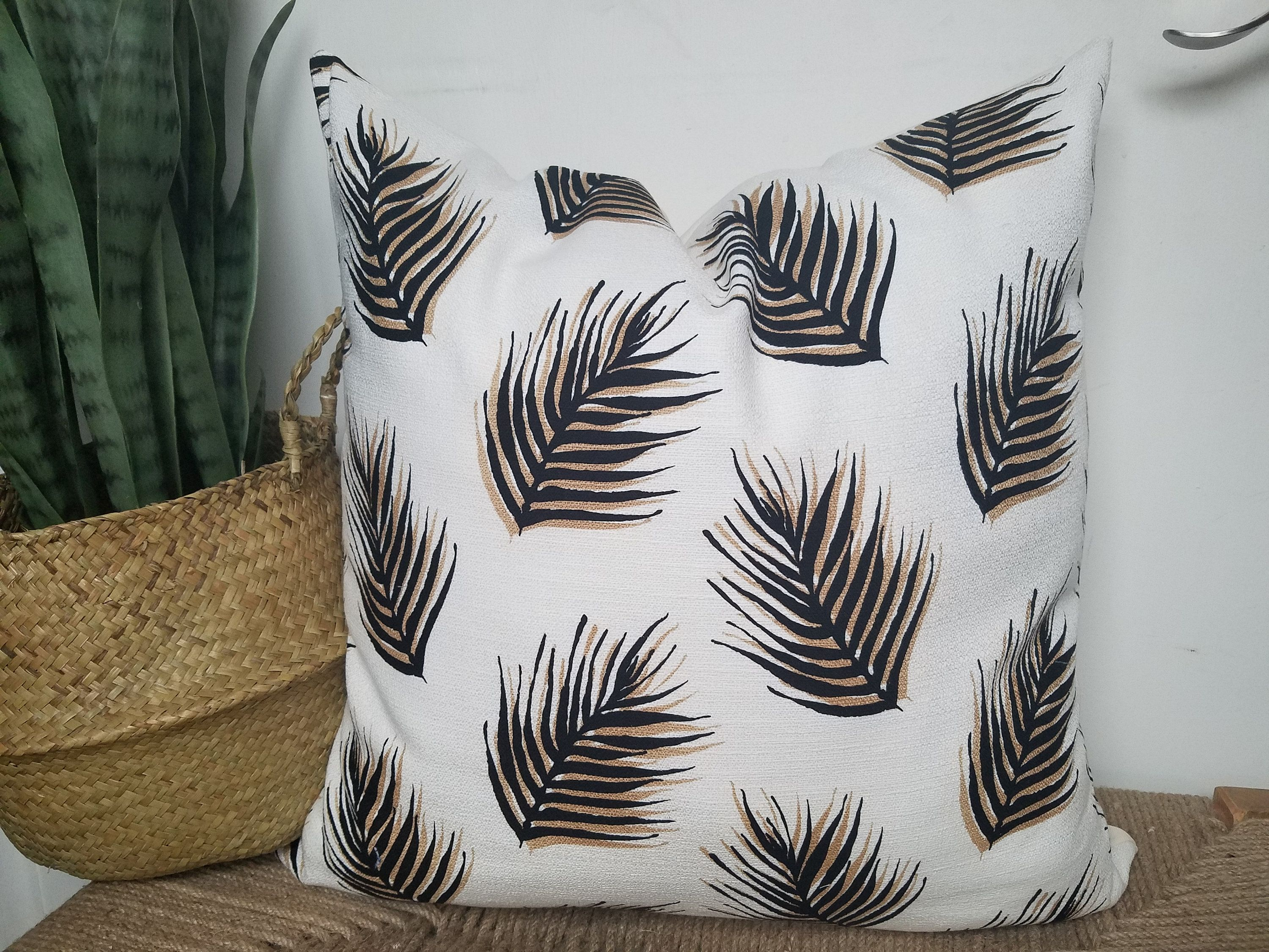 White Leaf Print with Carmel Faux leather Throw Pillow Cover ...