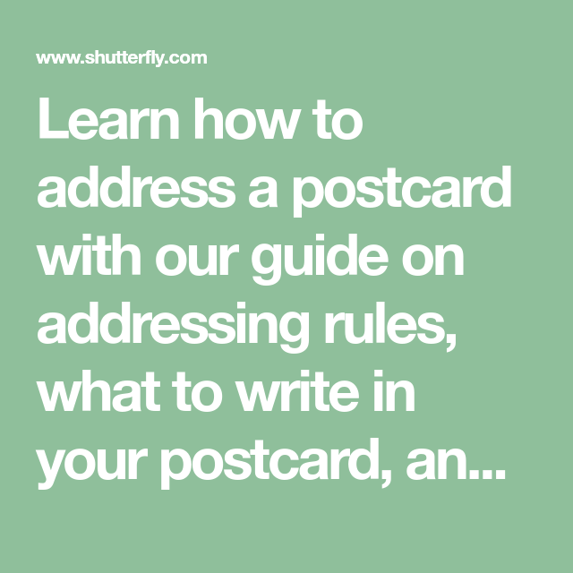 Card Etiquette: How To Address A Postcard