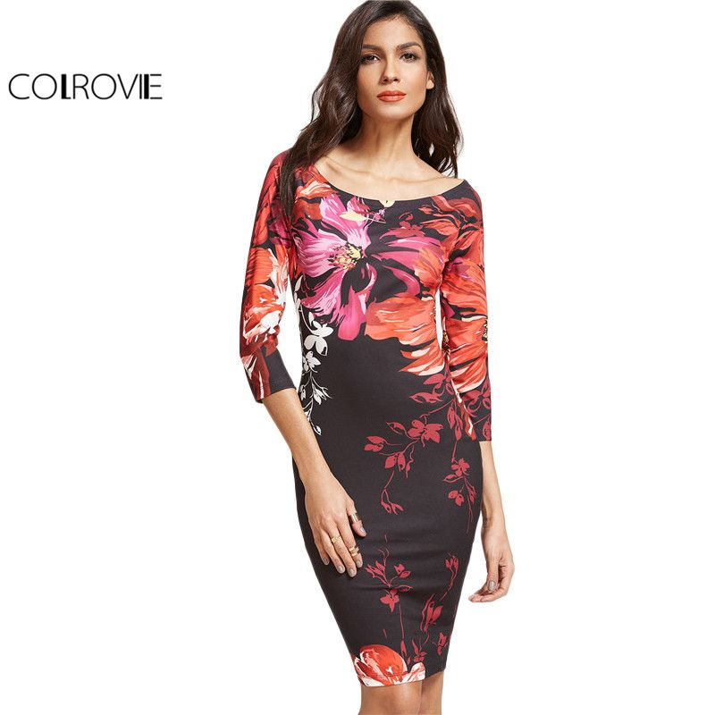 a3af71cbf5ba COLROVIE Floral Bodycon Dress Women Multicolor Elegant Boat Neck Midi  Summer Dresses 2017 3/4 Sleeve Brief Sexy Party Dress