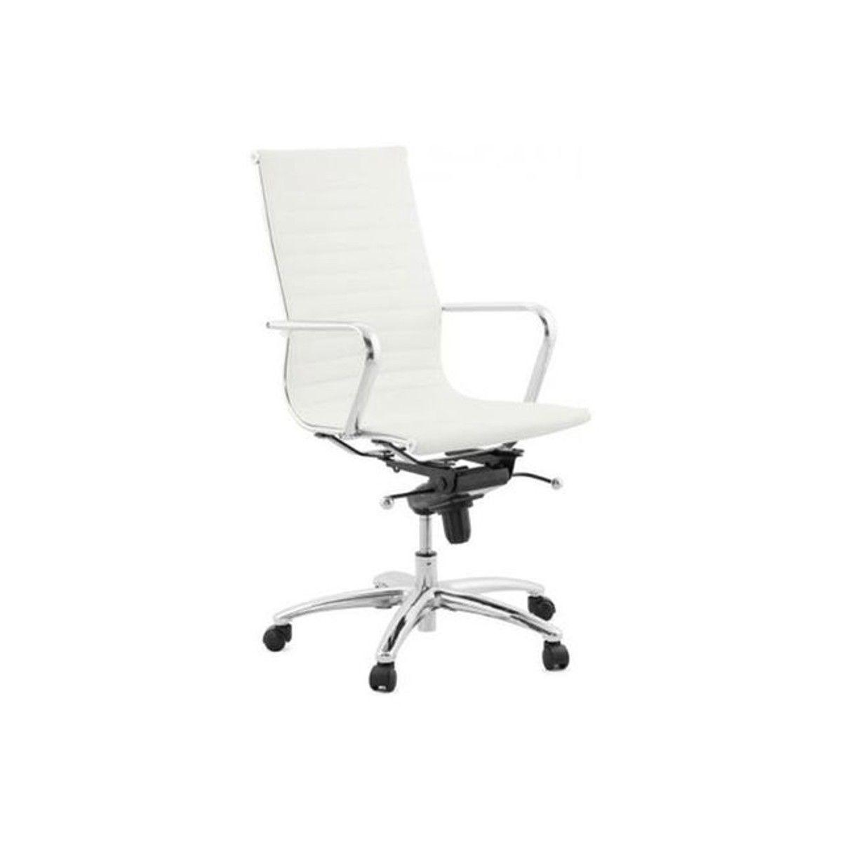 Chaise De Bureau Blanc Et Chrome Atal Taille Tu