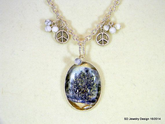 Tree Picture Pendant Necklace with Howlite by SDJewelryDesign16, $30.00