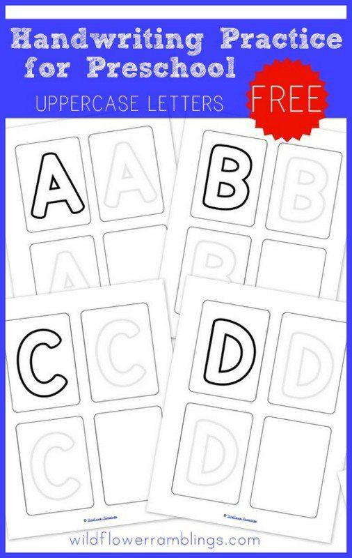 handwriting practice for preschool uppercase letters free printables wildflower ramblings