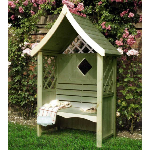 shire rose arbour covered bench garden seat pressure treated natural