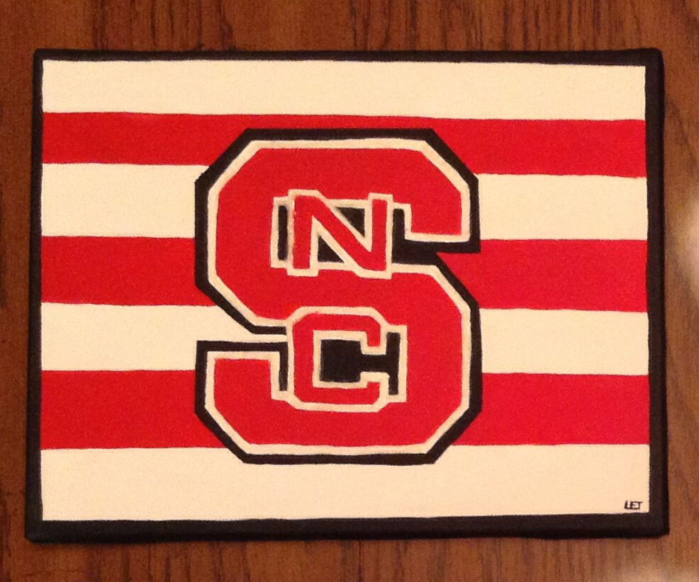 Diy Painted Nc State University Logo On Canvas State Canvas Painting State Canvas Painting