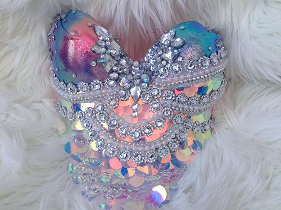 Sunset Scales Mermaid Bra rave bra halloween costume edm