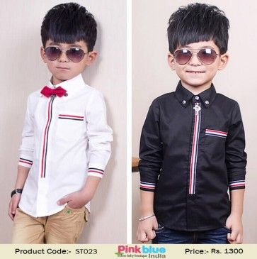 Buy Full Sleeve Black Party Wear Shirt For Baby Boys In India