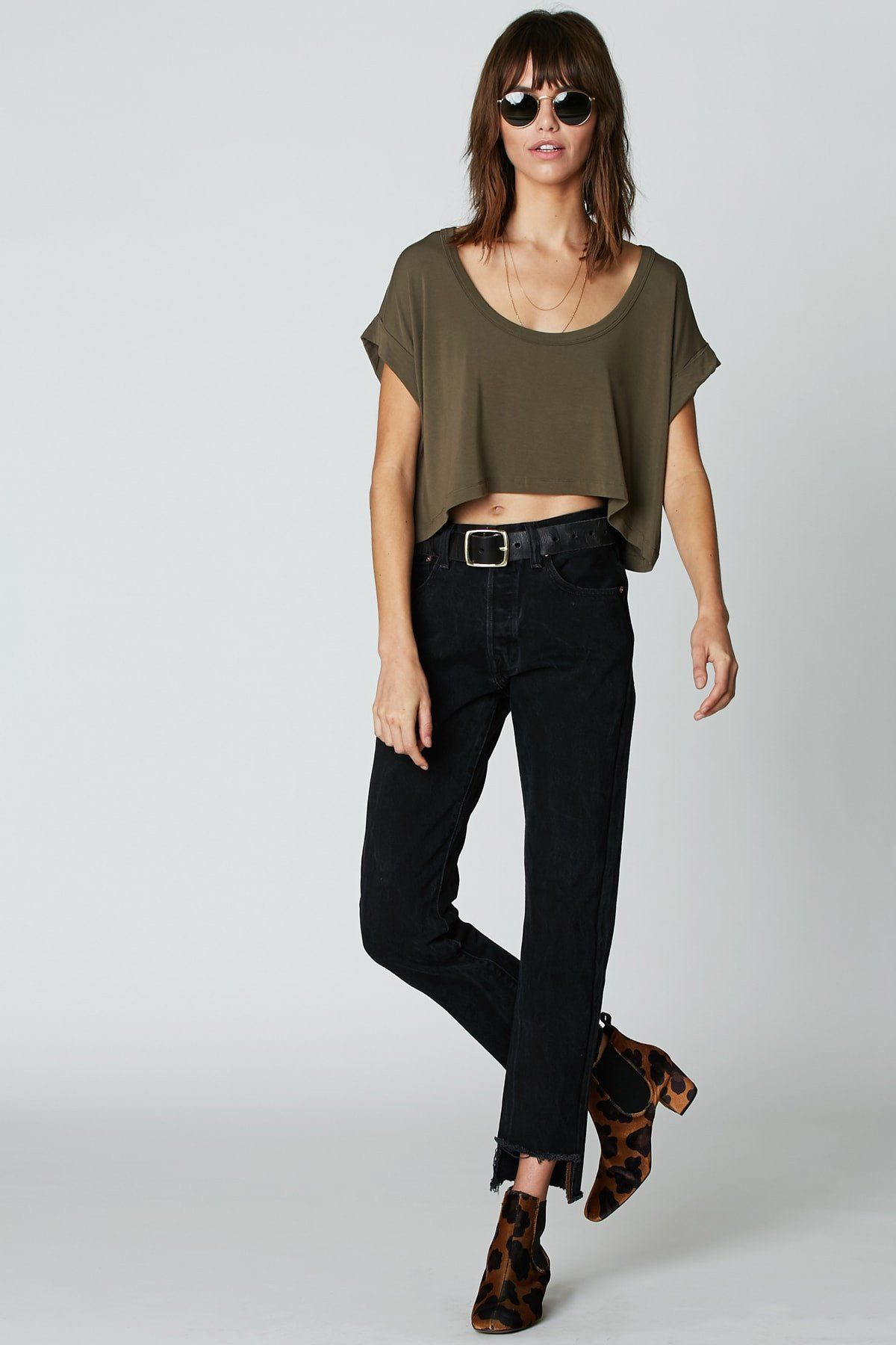 This short sleeve tshirt is super cropped in the front and longer in