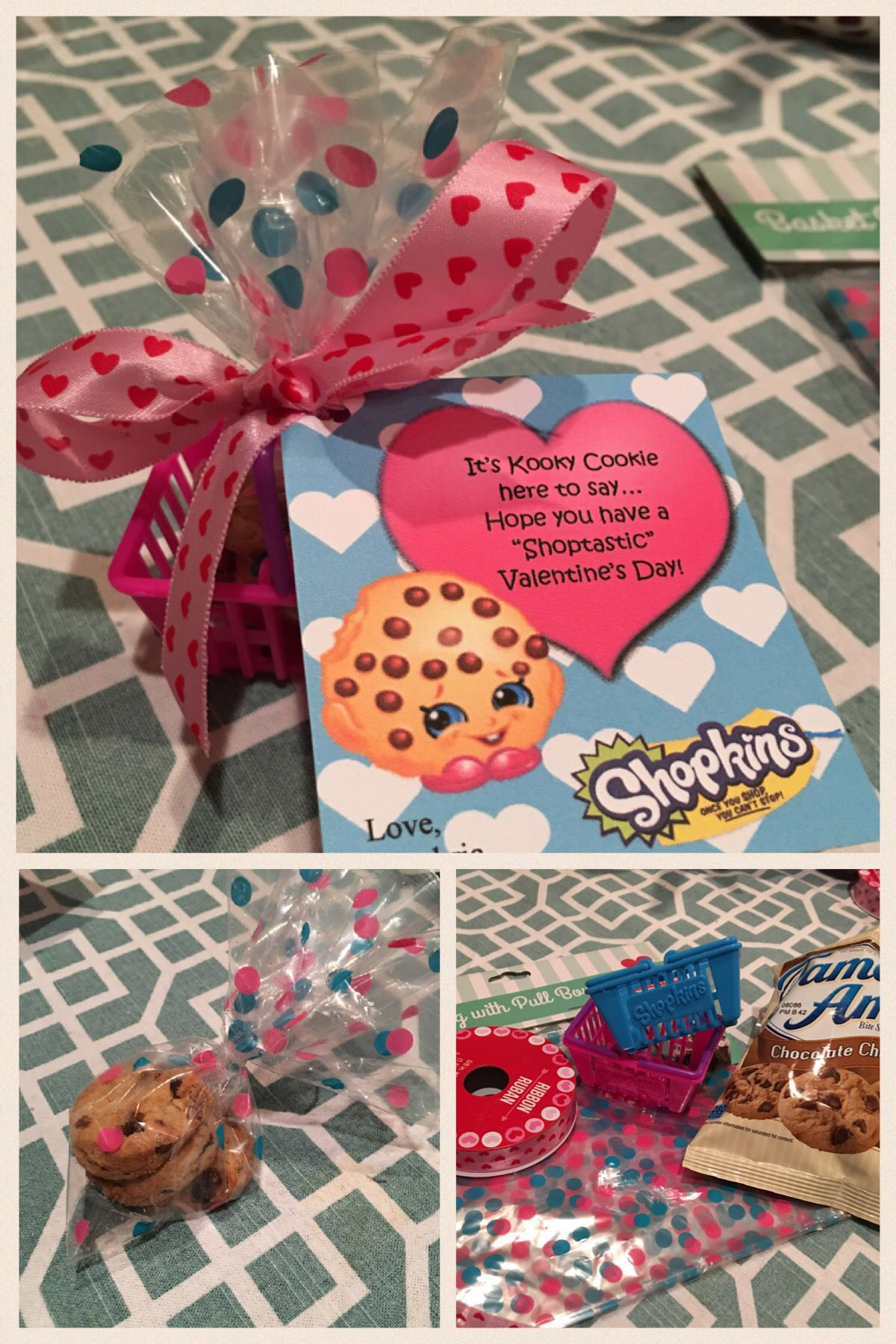 Shopkins Valentines: Upcycled Shopkins baskets, Dollar Tree ribbon, 99 Cent Store bags and Famous Amos Bite-size chocolate chip cookies.