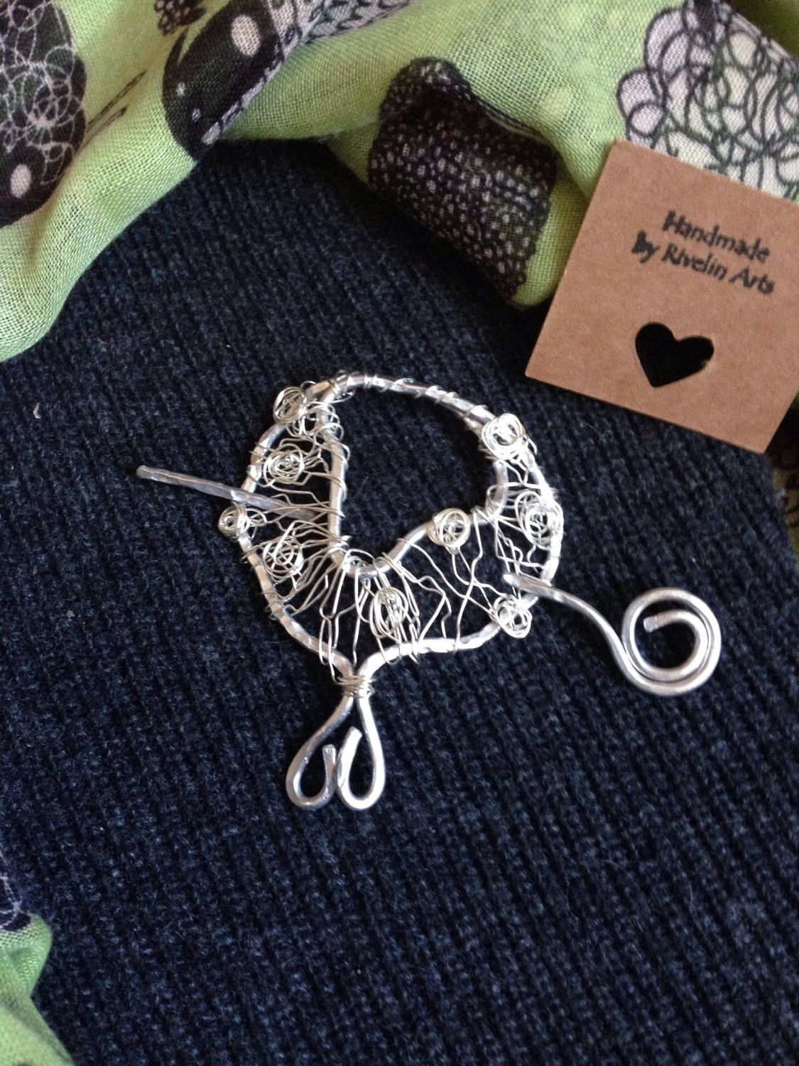 Silver sheep brooch, shawl pin, wire wrapped jewelry, scarf clip ...