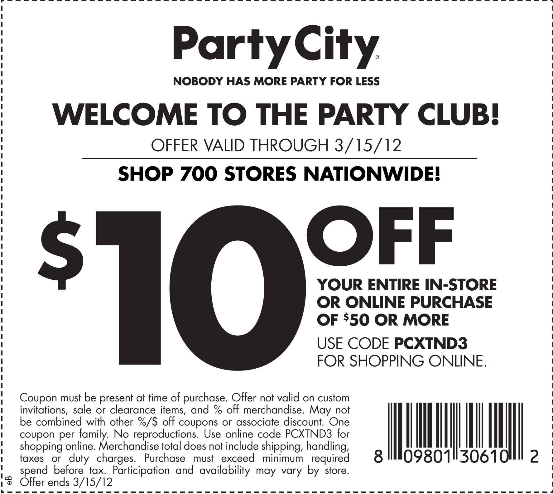 10 dollars off at Party City until March 15th. Party