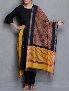 Yellow-Black Shibori Dyed Maheshwari Dupatta With Zari Border