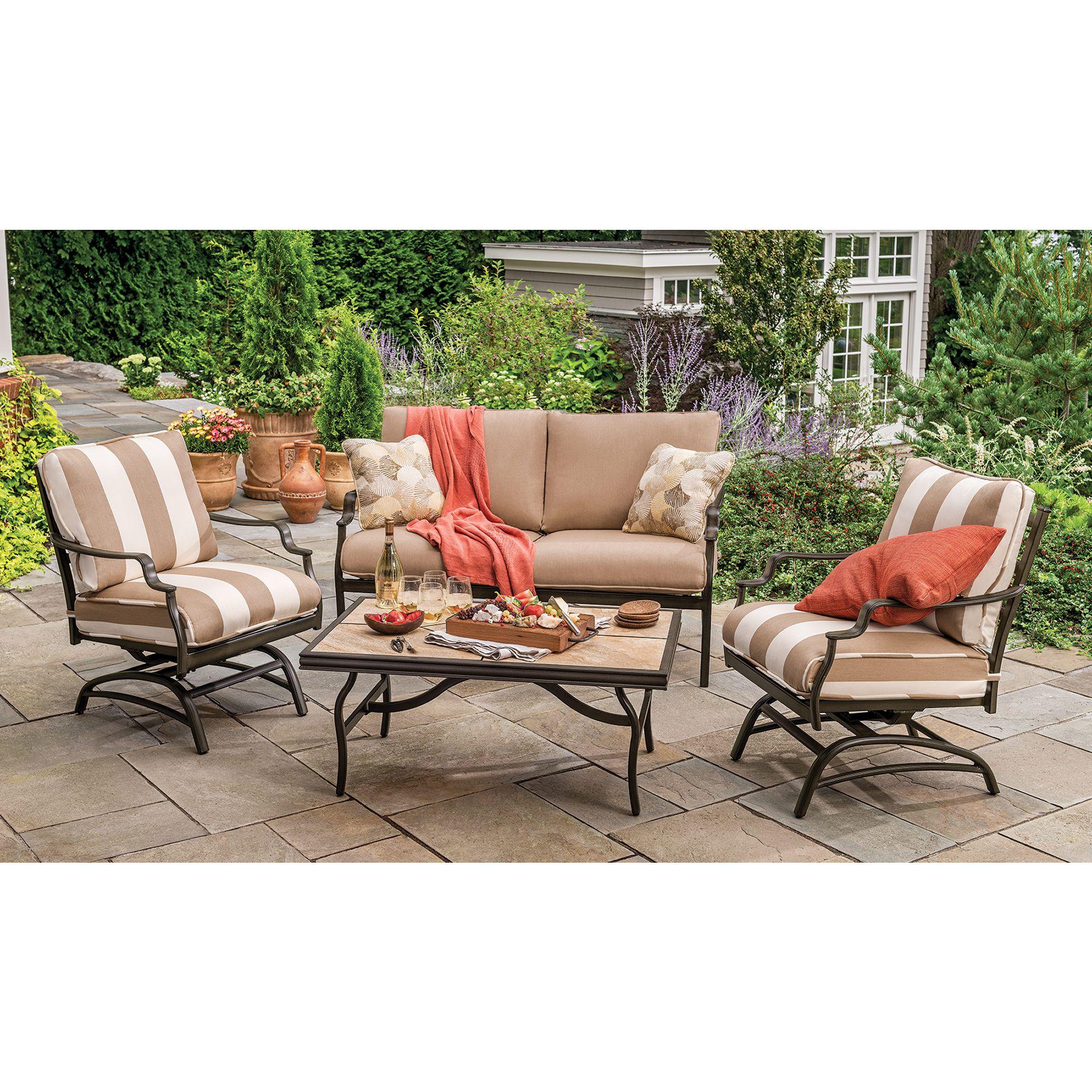 Berkley Jensen Trevi 4 Piece Deep Seating Patio Set Outdoor Furniture Sets Patio Patio Furniture Sets