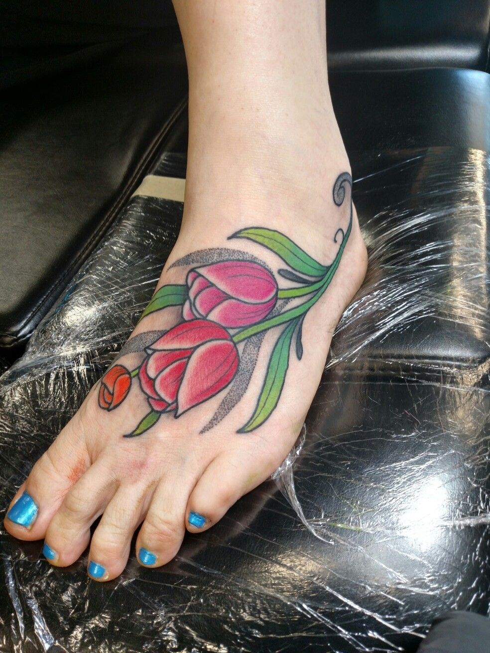 My new tattoo, tulips in memory of my mom. Thank you
