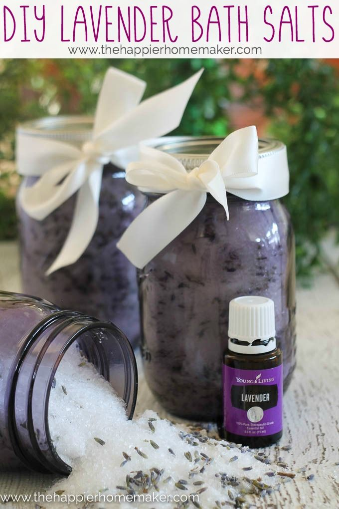 Diy Gift Idea Homemade Lavender Bath Salts The Happier Homemaker Lavender Bath Salts Bath Salts Bath Salts Diy