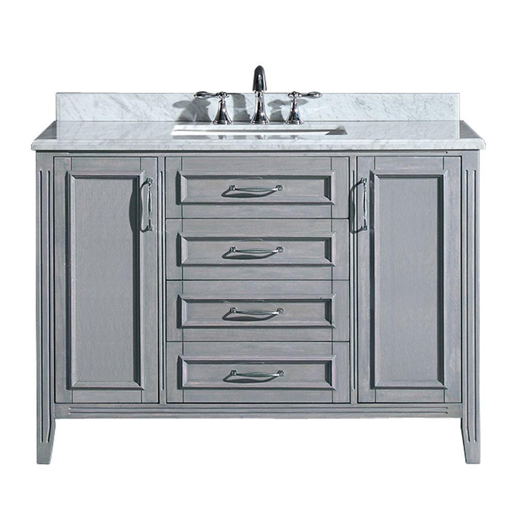 Madison 36 In Vanity In Gray With Marble Vanity Top In Carrara White In 2021 Marble Vanity Tops Granite Vanity Tops Vanity
